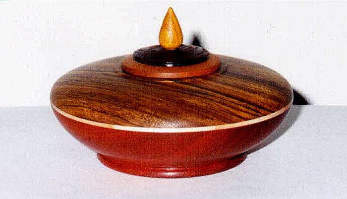 bowl: Imbuia, Maple, Bloodwood -- lid: Mahogany, Wenge, Canarywood